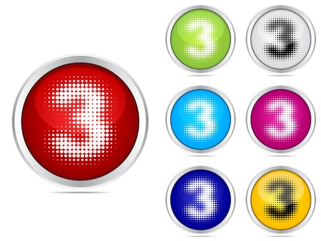 number three different colors Stock Vector - 10471640