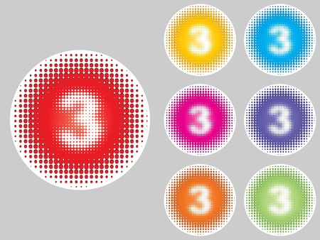 number three different colors Stock Vector - 10471750