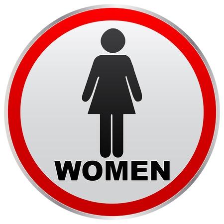 restroom sign: women toilet label