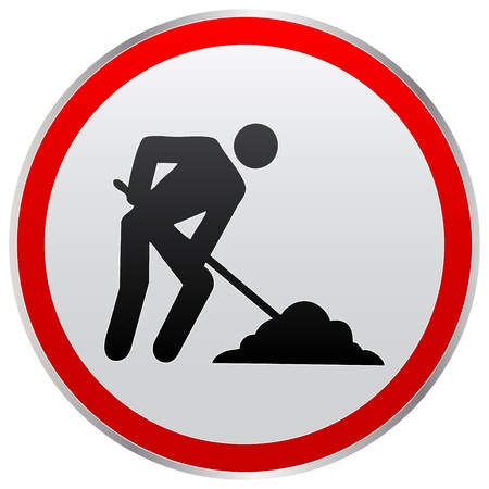no entry sign: worker icon Illustration