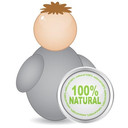 100% natural web button Stock Vector - 10496490