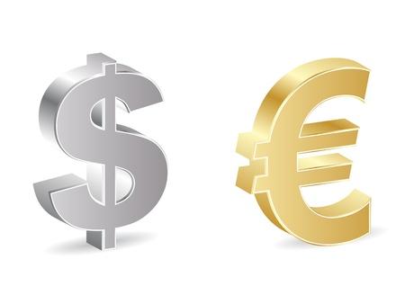euro teken: dollar en de euro iconen Stock Illustratie