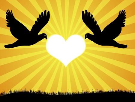 flying kiss: doves in love Illustration