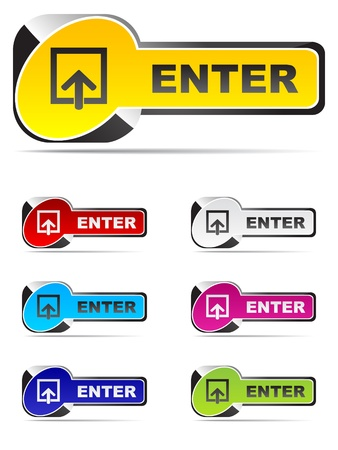 enter buttons different colors Stock Vector - 10496873