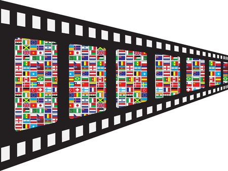 filmstrip with world flags Vector