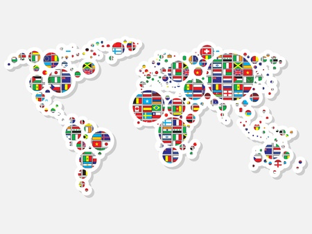 zoom earth: world map with flags Illustration
