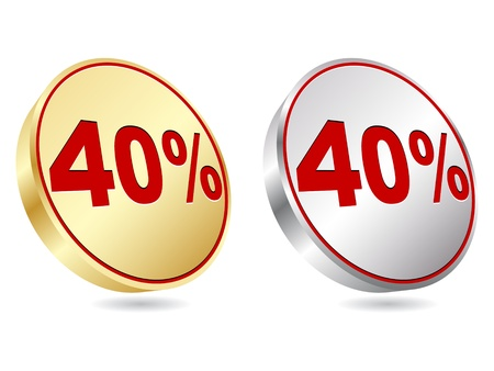 forty:  forty percent discount icon  Illustration