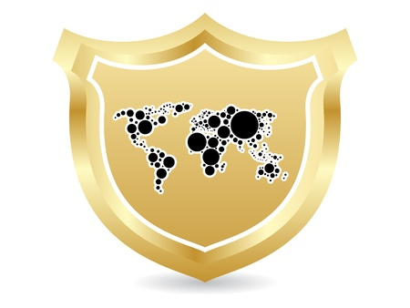 Shield with world map Vector