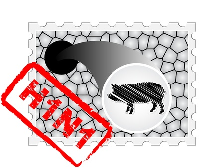 pandemic: stamp with pig Illustration