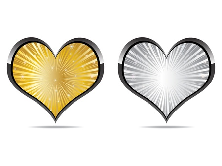 heart golden and silver Stock Vector - 10496894