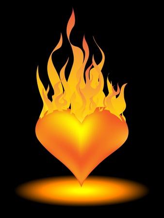 bougie coeur: coeur en feu