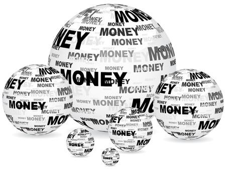 money sphere: money text on balls Illustration