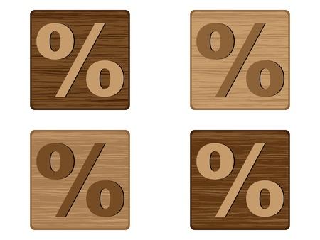 wooden buttons percent Vector