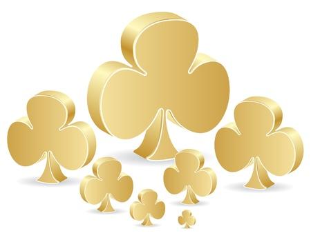 golden poker element - clover Stock Vector - 10497090