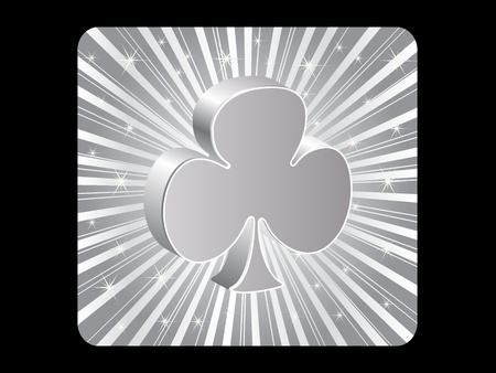 silver poker element - clover Vector