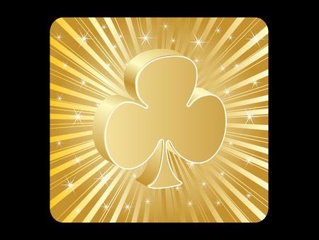 golden poker element - clover Stock Vector - 10496853