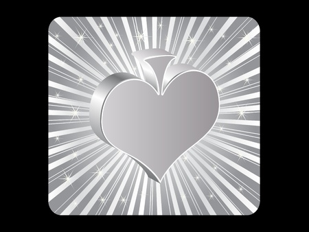 silver poker element - heart Stock Vector - 10496839