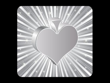 silver poker element - heart Stock Vector - 10496839