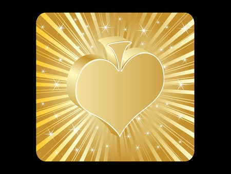 golden poker element - heart Stock Vector - 10496840