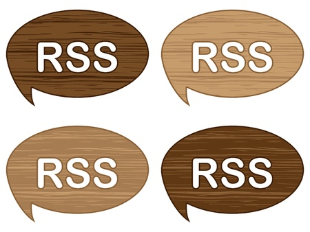 Four RSS wooden buttons Vector