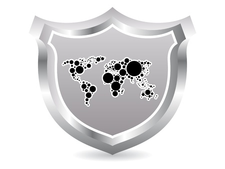 Shield with world map