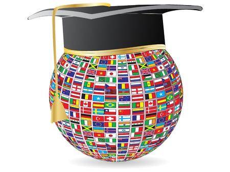 gorros de graduacion: graduaci�n de banderas del mundo Vectores