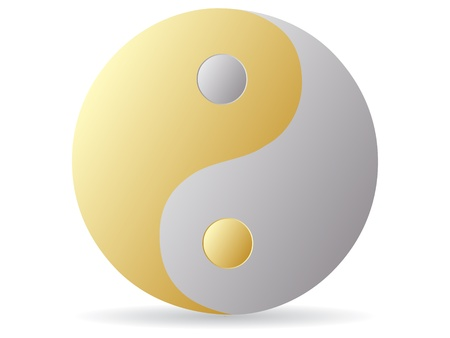 karma design: yin and yang - golden and silver