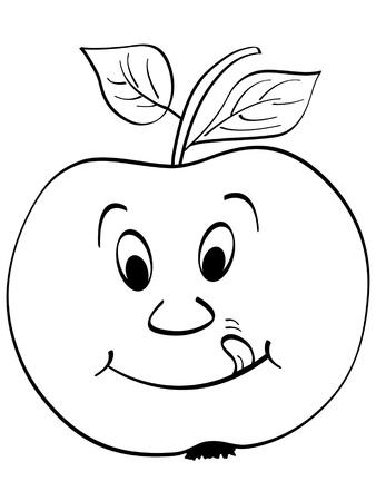 children eating fruit: apple vector illustration Illustration