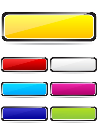 Colorful rectangle buttons vector illustration
