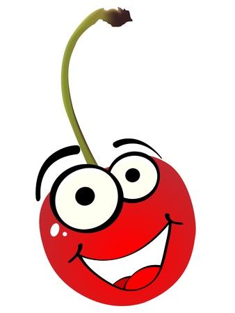 children eating fruit: red cherry vector illustration
