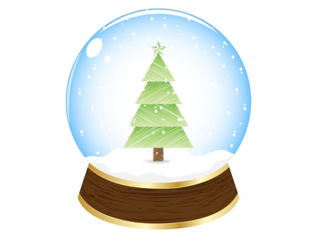 crystalline gold: christmas globe vector illustration