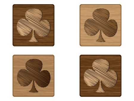 wooden poker element - clover