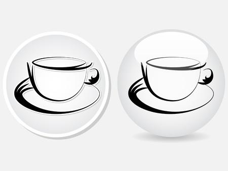 cafe internet: taza de café botón de ilustración vectorial