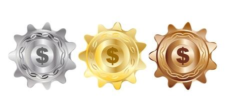us coin: monedas de un d�lar ilustraci�n vectorial