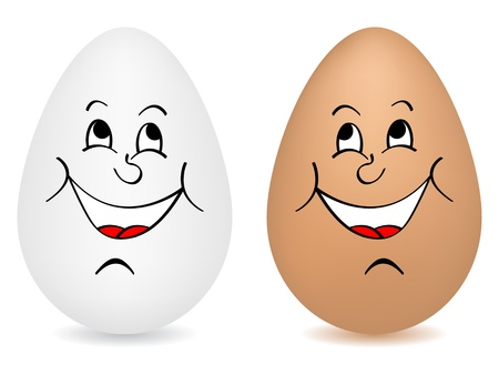 cartoon egg: Happy eggs vector illustration