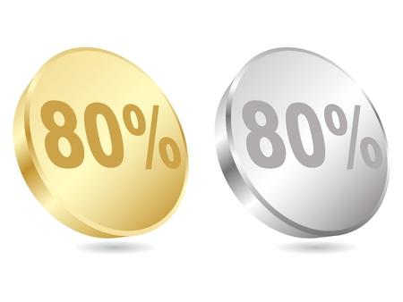 ochenta: ochenta por ciento de descuento ilustraci�n vectorial