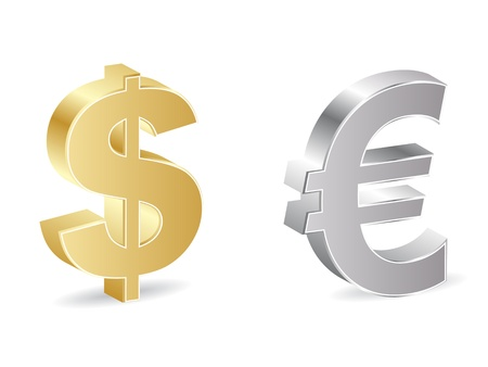 dealings: dollar and euro icon  Illustration