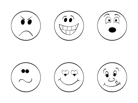 happy and sad: cartoon faces vector illustration