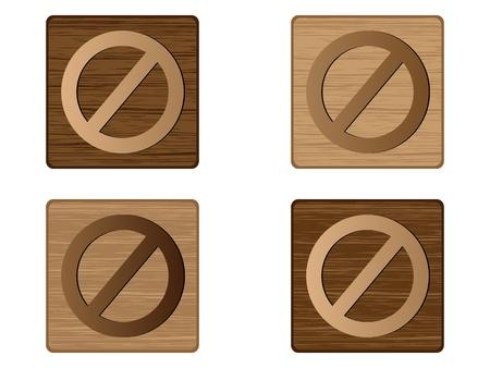 forbidden wooden button  Vector