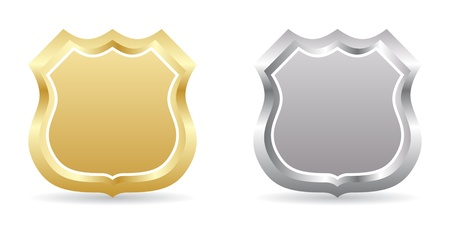 police badge: two badge golden and silver
