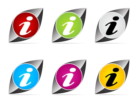 informer: information buttons different colors vector illustration