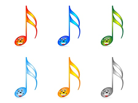 music theory: Shiny musical notes vector illustration