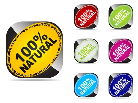 100% natural web buttons different colors   Vector