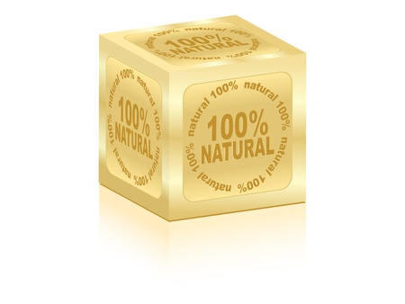 onehundred: golden box 100% natural vector illustration  Illustration