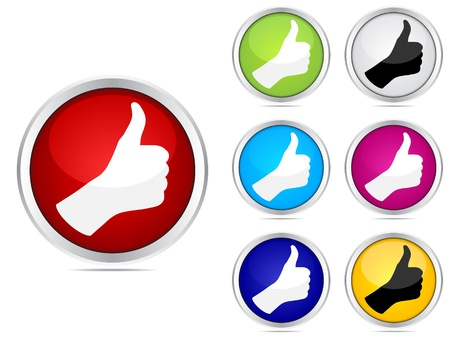 approval icon: Human hand giving ok buttons different colors
