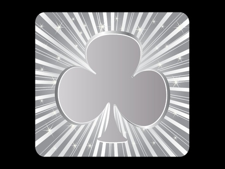 silver poker element - clover Stock Vector - 10568070