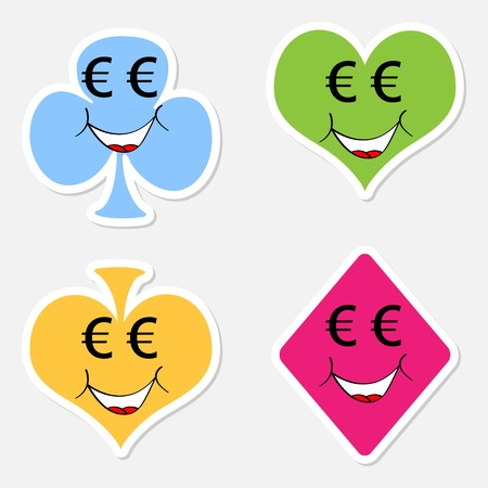 clover face: casino elements vector illustration