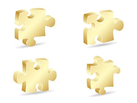 puzzle piece: pieza de rompecabezas de oro ilustraci�n vectorial Vectores