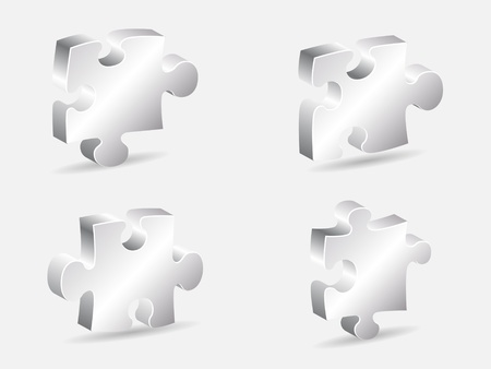 silver puzzle piece vector illustration
