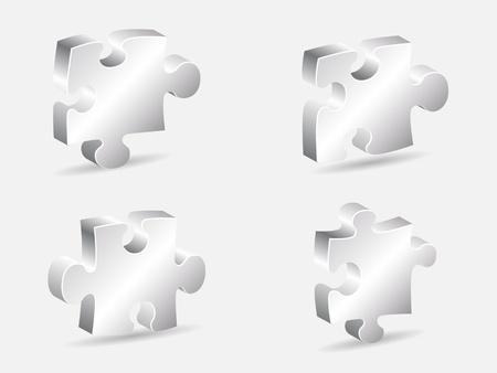 silver puzzle piece vector illustration